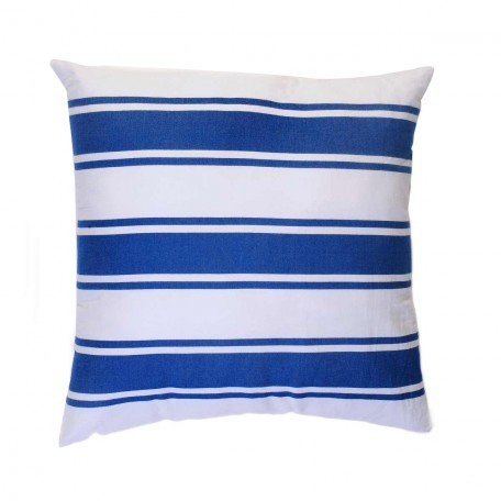 Coussin carré blanc avec rayures bleues - CB1