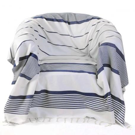 Jeté de fauteuil 2x2m en coton, fond blanc et rayures bleu roi - CB1