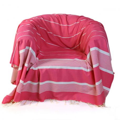 Jeté de fauteuil carré en coton fond fuchsia et rayures blanches - CB2
