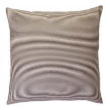 Grande housse de coussin 60 X 60 cm, écru et taupe à rayures, 100% coton -T2