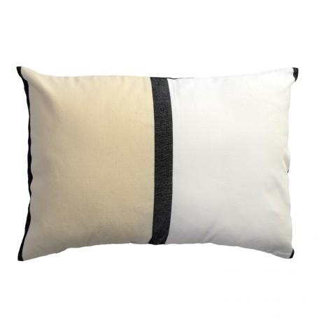 Housse de coussin 35x50 en coton motif tri-bandes écru, noir et blanc - D1