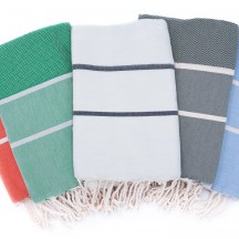 Fouta tissage chevron bi-colores