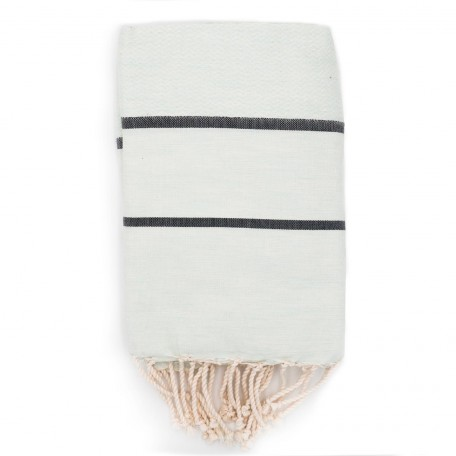 Fouta tissage chevron bi-colores : Blanc Lagon