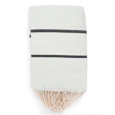 Fouta tissage chevron bi-colores : Blanc Lagon