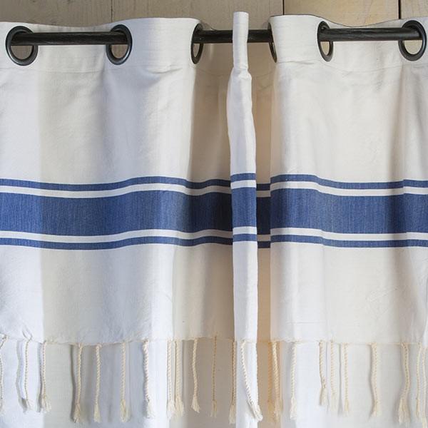 Rideau grande hauteur 3m20 blanc et bleu pr t poser et - Rideau blanc et bleu ...