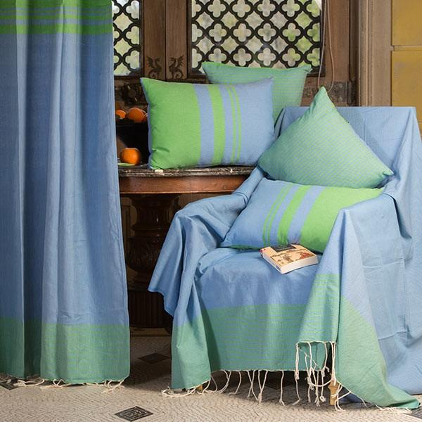 Jet de canap 2x3m en coton motif invers bleu et vert for Jete de canape 250x350