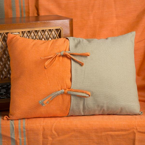 Housse de coussin rectangulaire orange et vert amande en - Housse de coussin de canape ...