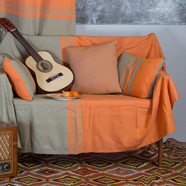 Jet de canap en coton rectangulaire orange et vert for Jete de canape 250x350