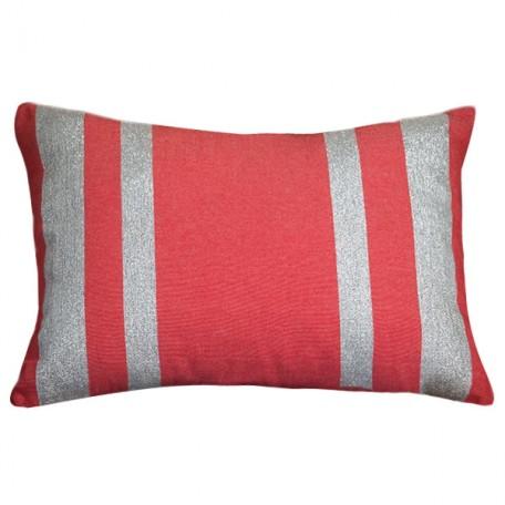 Coussin rectangulaire coton rouge et lurex argent IS1