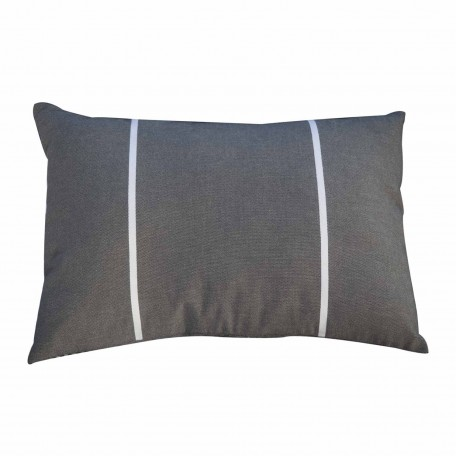 Coussin rectangulaire gris anthracite et rayures blanches C3
