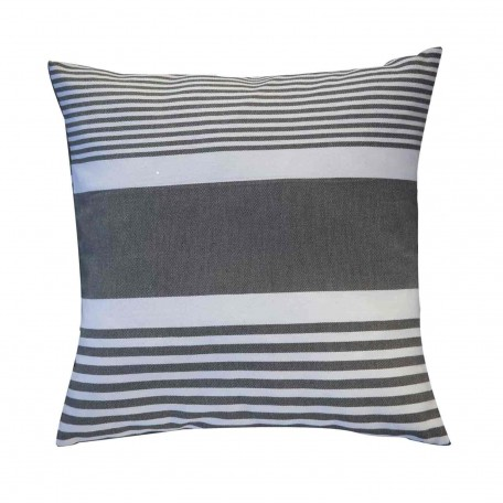 Coussin carré gris anthracite et rayures blanches C3