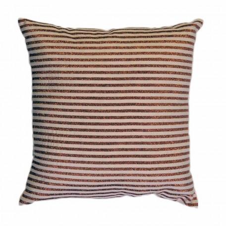 Coussin carré motif classique et épuré, fond écru avec des rayures fines en fil lurex bronze - B2
