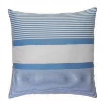 Grand coussin 60x60cm, fond blanc et rayures bleues doux - C1