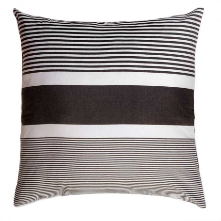 Grand coussin 60x60cm fond gris anthracite et rayures blanches - C3