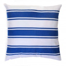 Grand coussin 60x60cm fond blanc avec 3 rayures bleues - CB1
