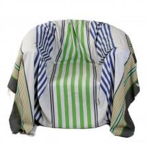 Jeté de fauteuil 2 x 2m, Motif composé de rayures fines et plus larges, fond gris bleuté, rayures bleues roi et vert gazon A3