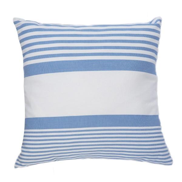 housse de coussin carr e fond blanc et rayures bleues en coton c1. Black Bedroom Furniture Sets. Home Design Ideas