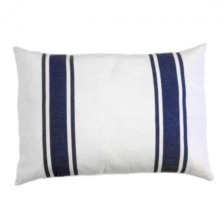 Coussin rectangulaire 35x50cm, fond blanc avec 3 rayures bleues  CB1