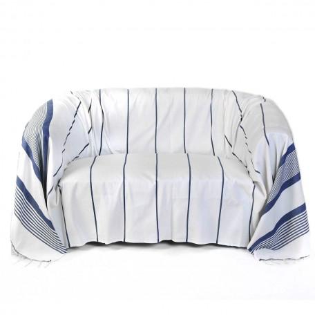 Jeté de canapé 2 x 3m, 100% coton, fond blanc avec des rayures bleues roi - CB1