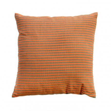 Coussin carré 40x40cm à rayures vertes amandes sur fond orange - T4