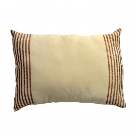 Coussin rectangulaire 35x50cm fond écru avec rayures fines en fil lurex bronze - B2