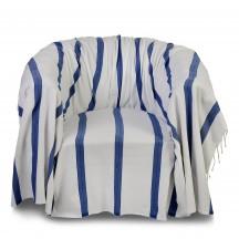 Jeté de fauteuil 2x2m, fond blanc et rayures bleu roi - F3