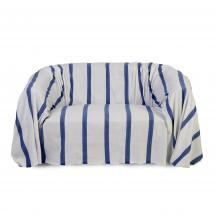 Jeté de canapé 2x3m, fond blanc et rayures bleu roi - F3