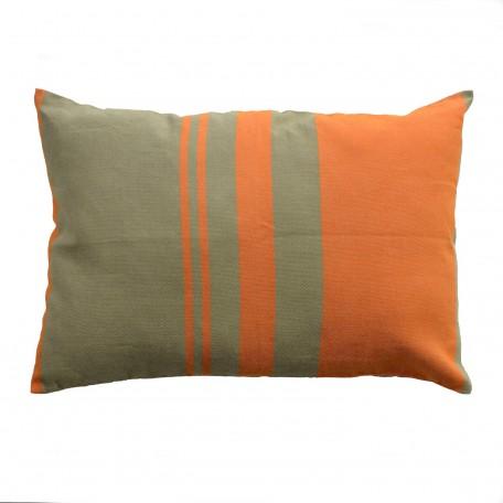 Coussin rectangulaire 100% coton orange et vert, 35x50cm,T4