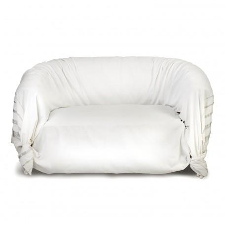 Jeté de canapé fond blanc et rayures en fil lurex argent - IS2