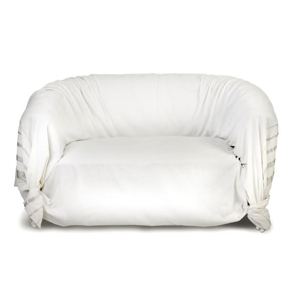 jet de canap rectangulaire blanche et rayures argent pour d coration d 39 int rieur pur e is2. Black Bedroom Furniture Sets. Home Design Ideas