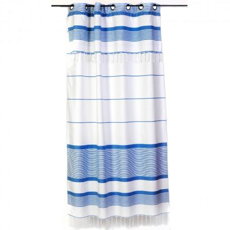 Rideau blanc et bleu à rayures, modulable et prêt à poser C1