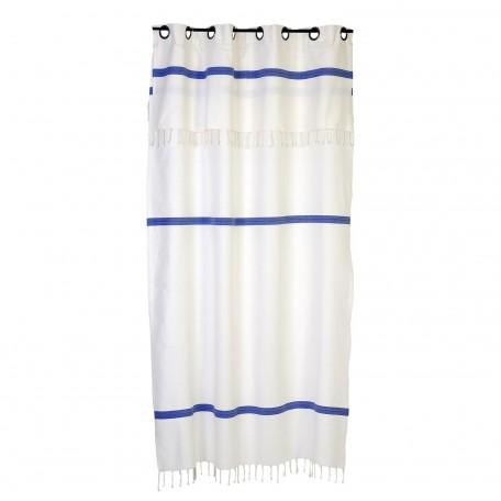 Rideau modulable, fond blanc avec rayures bleues - F3