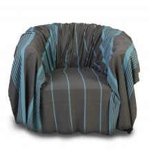 Jeté de fauteuil gris anthracite et turquoise 2x2m - C4