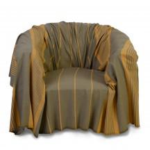 Jeté de fauteuil ocre et taupe 2x2m - C5