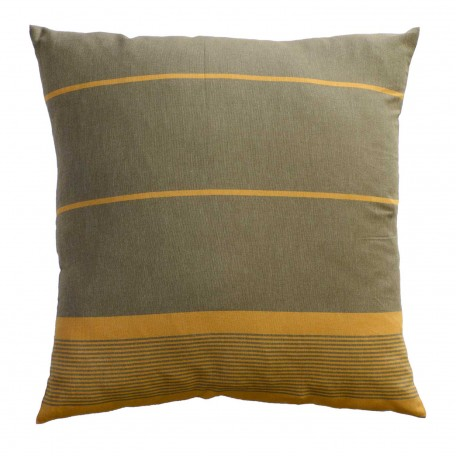 Grand coussin 60x60cm, fond taupe et rayures ocres - C5