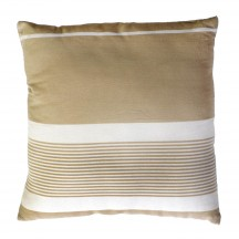 Coussin carré fond lin et rayures blanches - CB3
