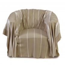Jeté de fauteuil 2x2m en coton, fond lin et rayures blanches - CB3