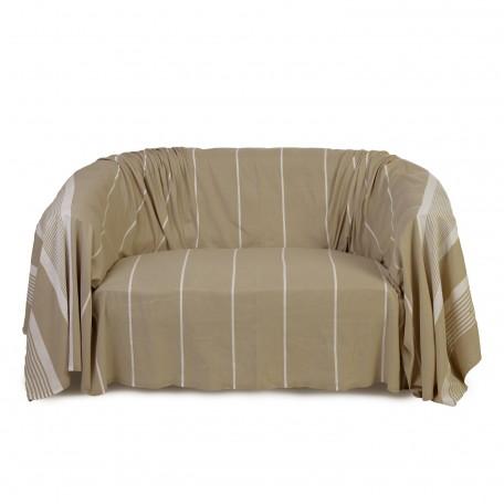 Jeté de canapé 2 x 3m, en coton, fond lin et rayures blanches - CB3