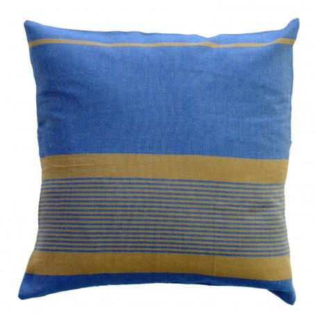Coussin carré fond bleu et rayures taupes - CB4
