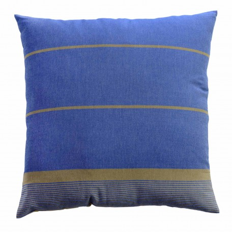 Grand coussin 60x60cm fond bleu et rayures taupes - CB4