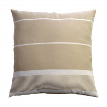 Grand coussin carré fond lin et rayures blanches - CB3