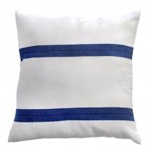 Coussin carré 40x40, fond blanc et rayures bleues - F3