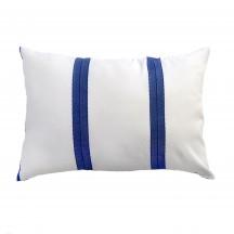 Coussin rectangulaire 35x50cm, fond blanc et rayures bleues - F3