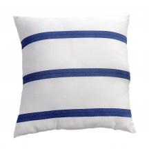 Grand coussin 60x60cm, fond blanc et rayures bleu royal F3