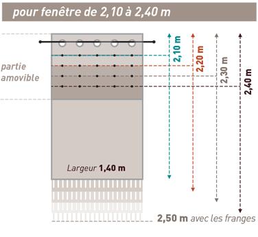 Réglage rideau 2,10m à 2,40m